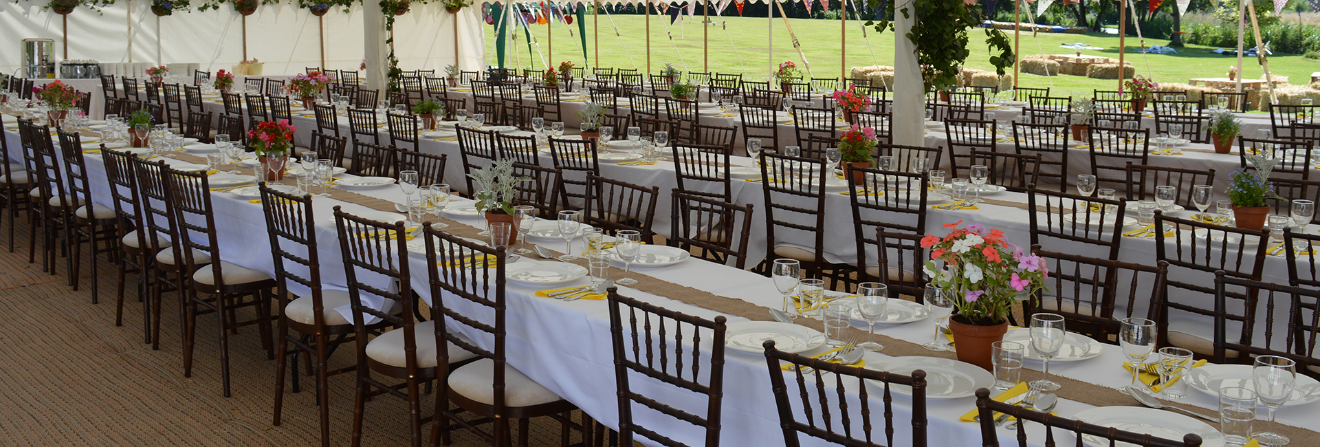 mahogany chiavari chairs in traditional marquee woodbridge suffolk
