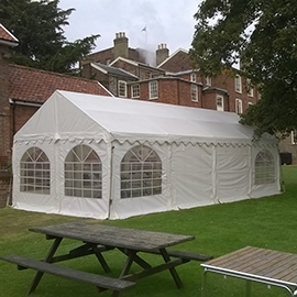 party tent at green king bury st edmunds suffolk