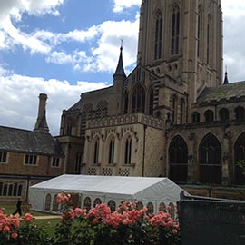 marquee at bury st edmunds cathedral in the abby gardens