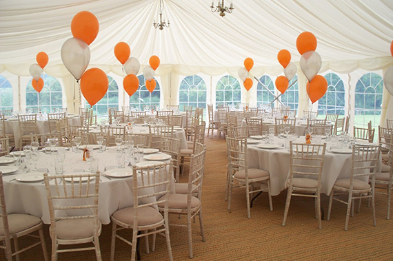 marquee party with balloons in felixstoew suffolk