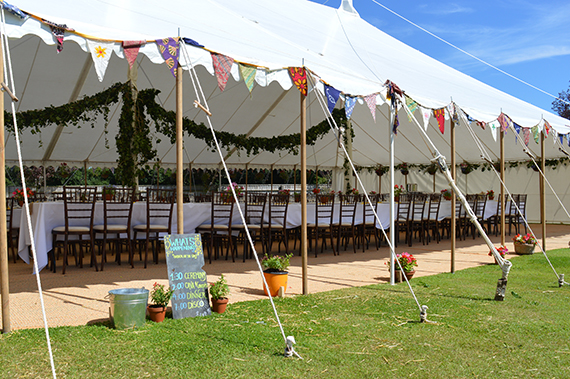 mahogany chiavari chairs in traditional marquee