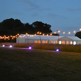 festoon lighting around marquee - rent a party tent suffolk