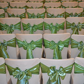 Green satin sashes - suffolk chair covers